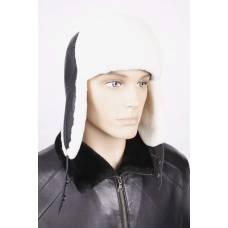 Ушанка из белой овчины с черной кожей ОМ-7