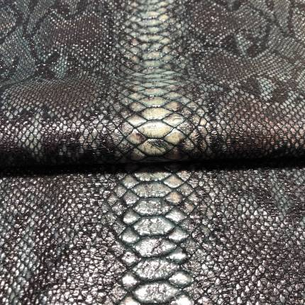"""Кожа с принтом """"Змея 14"""", тон темно-зеленый"""